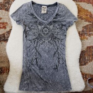 Vocal Gray Embelished Fitted V-Neck Top Size S